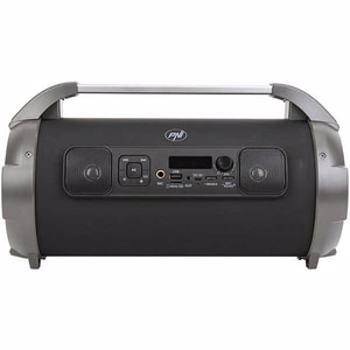Boxa portabila PNI BoomBox BT240 stereo, 24W, cu Bluetooth, USB, slot card micro SD, radio FM, aux-in 3.5mm, functie karaoke, microfon cu fir, baterie reincarcabila, lumini led RGB, cablu USB si adaptor alimentare inclus