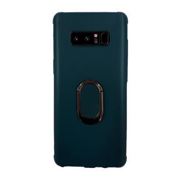 Husa de protectie cu stand metalic si inel pentru suport magnetic Samsung Galaxy Note 8 albastru