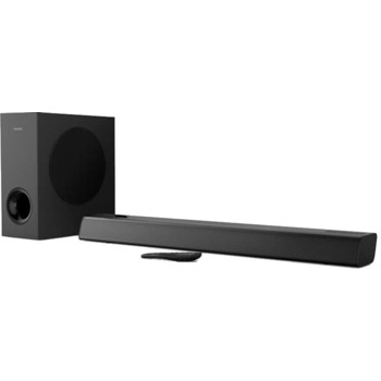 Reducere! Soundbar Philips TAPB405/10, Subwoofer wireless, 2.1, HDMI ARC, Google Assistant, Apple AirPlay, Dolby Audio, 120W (Negru)