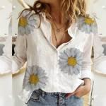 Bluza casual vintage pentru femei, cu imprimeu de floarea soarelui ?i maneca lunga, bluza subtire