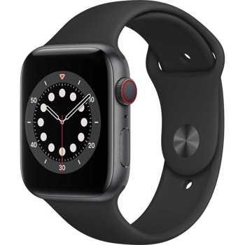 Apple Watch S6 GPS + Cellular, 44mm Space Grey Aluminium Case with Black Sport Band - Regular