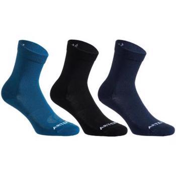 Set Şosete Lungi Sport RS160 x3 Albastru-Negru-Bleumarin Adulți ARTENGO