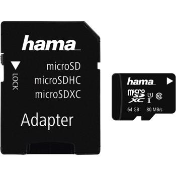 Card de memorie Hama 124140 MicroSDXC, 64GB, Clasa 10 + Adaptor