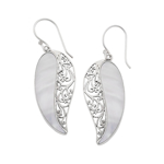 Bijuterii Femei Samuel B Jewelry Sterling Silver Mother of Pearl Leaf Design Earrings WHITE