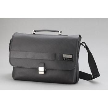 Servieta 2 compartimente documente/laptop, din piele neagra, stampata, PARKER