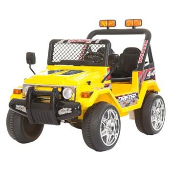 Masinuta electrica cu doua locuri si roti din plastic Drifter Jeep 4x4 Galben