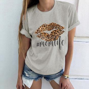 Bluza casual pentru femei, cu maneci scurte, cu imprimeu, bluza potrivita pentru sezonul de primavara ?i vara
