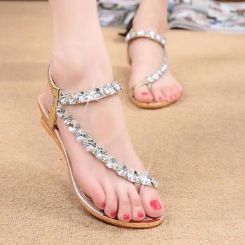 Sandale pentru femei, stil boem potrivit pentru vara, cu ?trasuri ?i elastic, model foarte confortabili cu bretele elastice, cu talpa subtire ?i dreapta