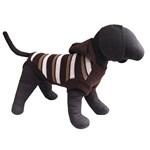 Pulover maro tricotat cu gluga si dungi pentru caini Vesto 38 cm