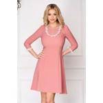 Rochie StarShinerS roz prafuit eleganta scurta in clos din stofa elastica cu aplicatii de dantela