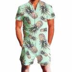 Salopeta moderna pentru barbati, o singura piesa, cu imprimeu tropical ?i maneca scurta, cu fermoar comod, potrivita pentru plaja