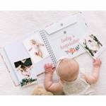 Set caietul bebelusului cu amprenta cerneala si stickere, Pearhead, model floral