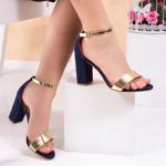 Sandale cu toc dama albastre cu auriu Rulisa