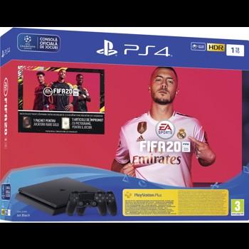 Consola SONY PlayStation 4 Slim, 1TB, Jet Black + extra controller DualShock 4 + Joc FIFA20 + PSPlus 14zile + voucher FIFA Ultimate Team