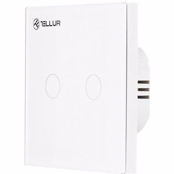 Intrerupator smart dublu Tellur, Touch, Wireless, 1800W, 10A, Alb