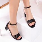 Sandale cu toc dama negre Laminia