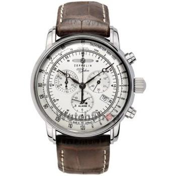 Ceas Argintiu/gri pentru barbati Zeppelin 100 Years Zeppelin cu bratara din piele 7680-1