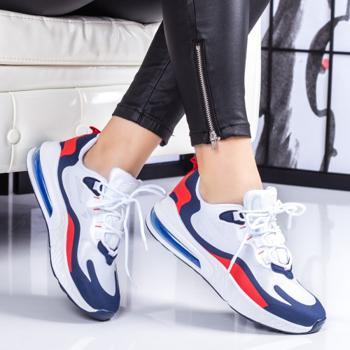 Pantofi sport dama albi cu albastru Nanesia -rl