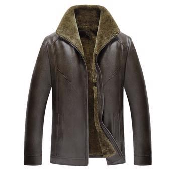 Haina groasa ?i calduroasa pentru barbati, din piele ecologica ?i captu?eala din plu?, haina cu rever potrivita pentru sezonul de iarna