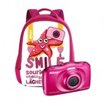 Nikon Coolpix W100 Aparat Foto Compact Subacvatic 13.2MP Kit cu Rucsac Roz