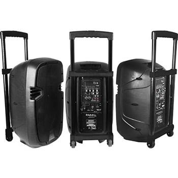 Boxa portabila activa Ibiza 400W USB SD 2 x microfon linie MP3 Bluetooth Negru hybrid10vhfbt