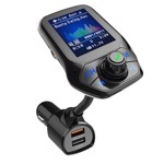 "Modulator Auto Transmitator FM Techstar® T43 Bluetooth 4.0 AUX USB QC3.0 Display Color 1.8"" MP3 Player Android iOS"