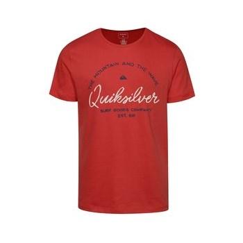 Tricou rosu Quiksilver din bumbac cu print