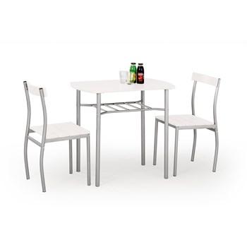 Set masa din MDF si metal + 2 scaune Lance White, L82xl50xH75 cm