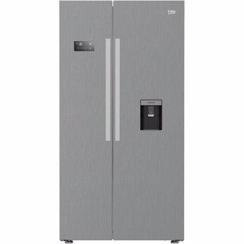 Side by Side Beko GN163320PT, 554 L, Neo Frost, A++, Compressor ProSmart Inverter, Display Touch, Dozator apa, 179 cm, Argintiu