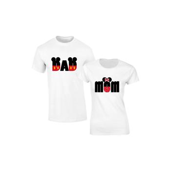Set de tricouri albe Mom Dad Disney S118