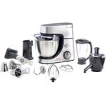 Robot de bucatarie Tefal Masterchef Gourmet argintiu QB515D38, 1100 W, Tel Flex, Miscare planetara, Blender, Bol 4.6 L, Masina de tocat carne, Gri