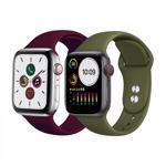 Set 2 curele din silicon cu conectori pentru Apple Watch 1 / 2 / 3 / 4 / 5 series 42 / 44 mmverde visiniu