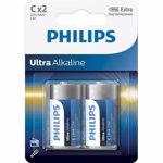 Baterii Philips Ultra Alkaline C, 2 buc