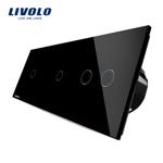 Intrerupator cu touch simplu+dublu+dublu LIVOLO din sticla Negru vl-c701/702/702-12