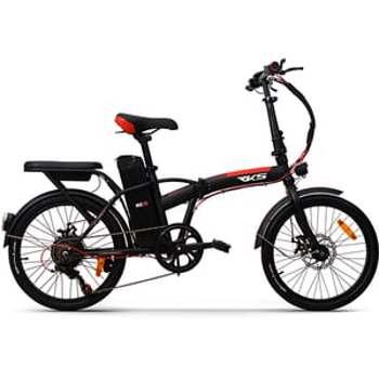 Bicicleta asistata electric pliabila RKS MX35, 20 inch, negru-rosu