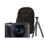 Aparat Foto Digital Canon PowerShot SX730 HS, 20.3 MP, Filmare Full HD, Zoom optic 40x (Negru) + Trepied + Husa