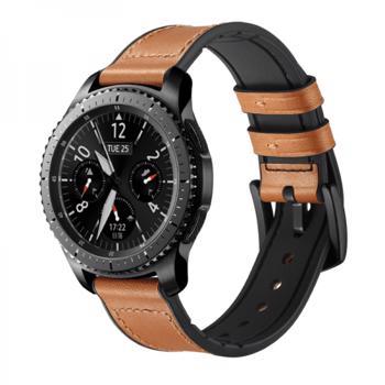Curea 22mm dual piele naturala si silicon pentru Samsung Gear S3 Classic / Frontier / Watch 46 cu telescop QuickRelease maro