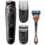Aparat de tuns barba si parul Braun BT5042, Lame ascutite durabile, 39 setari de lungime, 2 piepteni, aparat de ras Gillette Flexball, Acumulator, Negru/Argintiu