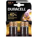 Set 4 baterii Duracell Basic, tip AA