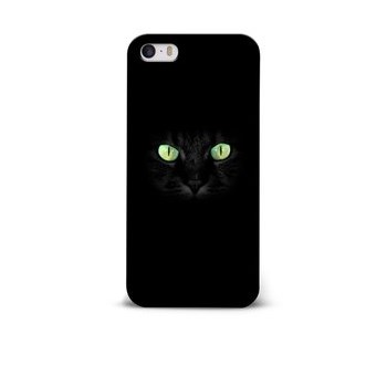 Carcasa neagra pentru iPhone 5/5S/SE Epico Dark cat cu imprimeu