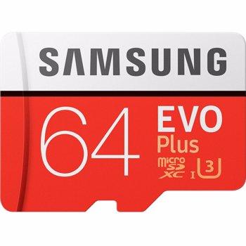 Card de memorie Samsung Micro-SDXC EVO Plus 64GB, Class 10, UHS-I U3 + adaptor SD