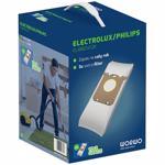 Sac aspirator Perfect Bag Worwo ELMB01X12K, 12 saci + 3 filtre aspiratie, pentru aspiratoarele Electrolux Philips
