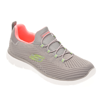 Pantofi sport SKECHERS gri, SUMMITS FAST ATTRACTION, din material textil