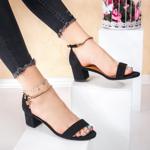 Sandale cu toc dama negre Fileria