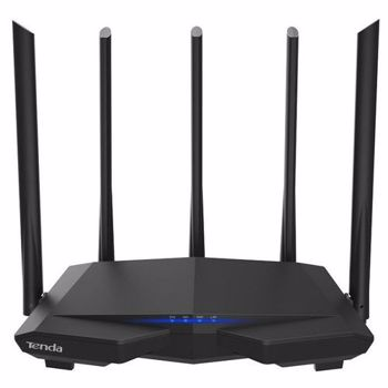 Router Wireless Tenda AC7, Dual-Band, 1200 Mbps, 5 Antene externe (Negru)