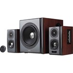 Edifier 2.1, RMS: 150W (2 x 25W, 2 x 15W, 1 x 70W), bluetooth telecomanda wireless, volum, bass, treble, optical, brown