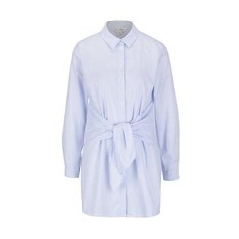 Camasa alb&albastru Miss Selfridge cu panglici in talie
