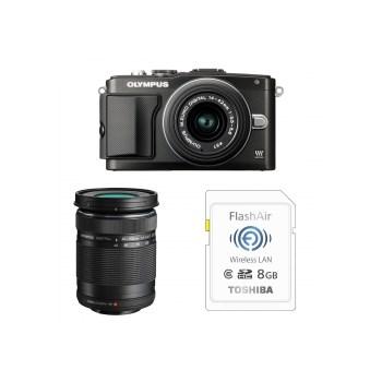 Aparat foto Mirrorless Olympus E-PL5 negru + Obiectiv M.ZUIKO Digital 14-42mm f/3.5-5.6 II R negru + Obiectiv M.ZUIKO Digital 40-150mm f/4.0-5.6 R