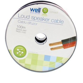 Cablu difuzor rosu/negru cupru 2X0.50, 100m, Well
