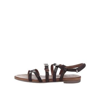 Sandale maro inchis din piele Tamaris cu aplicatii metalice